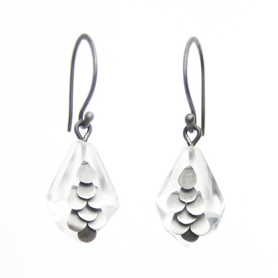 Mini Murmur earrings in Oxidised Silver