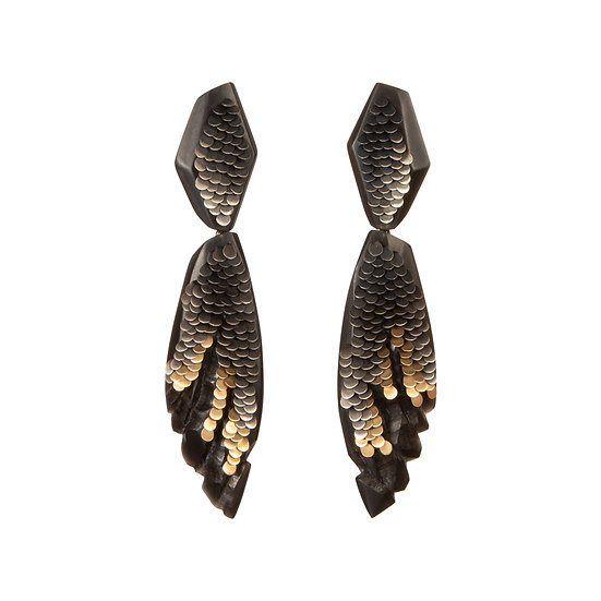 Double Drop Two Tone Black Murmur Earrings