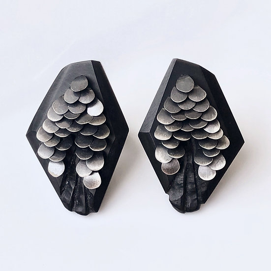 Medium Black Murmur Studs Silver
