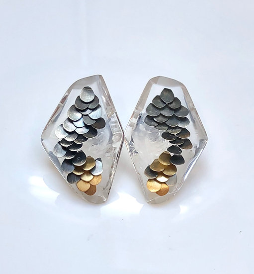 Medium Clear Murmur Studs Two Tone