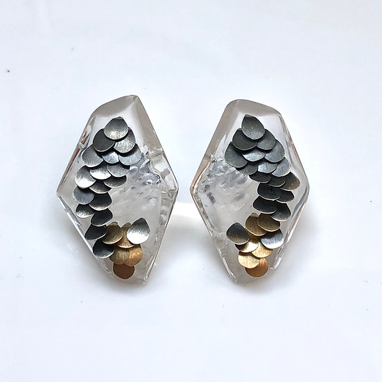 Small Clear Murmur Studs Two Tone 2
