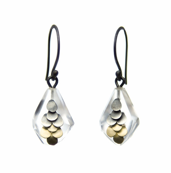 Mini Murmur earrings in two tone yellow gold