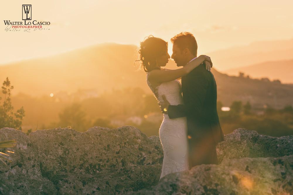 Sposi al tramonto. Tramonto siciliano