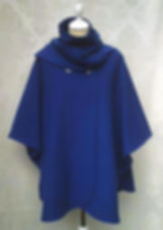 PEACOCK BLUE WOOL CAPE
