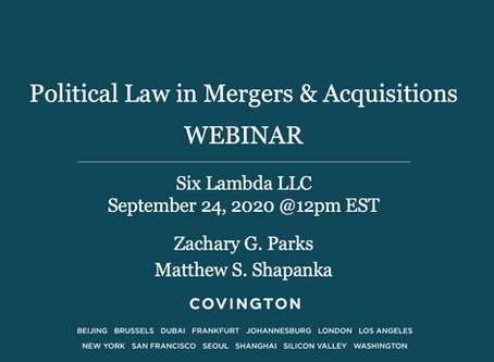 Six Lambda is hosting a Webinar with the Election and Political Law group of Covington & Burling LLP