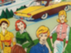 Pinball Art of Ladies with a vintage car