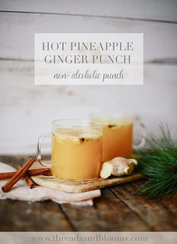hot pineapple ginger punch, threadsandblooms.com, emily, recipe, blog