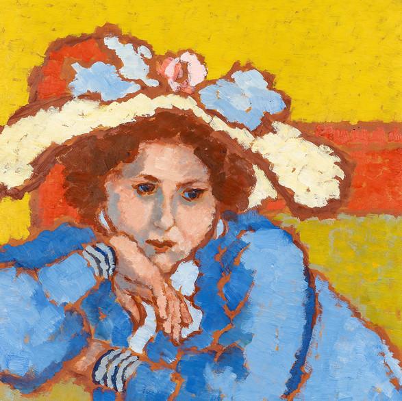 Rippl-Rónai József: Kékruhás lány kalapban / olaj, karton, 68x49cm