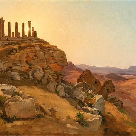 Ligeti Antal: Táj antik romokkal / olaj, vászon, 44x72,5cm