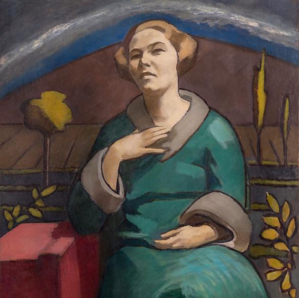 Fenyő György: Zöldruhás nő / olaj, vászon,101x82cm