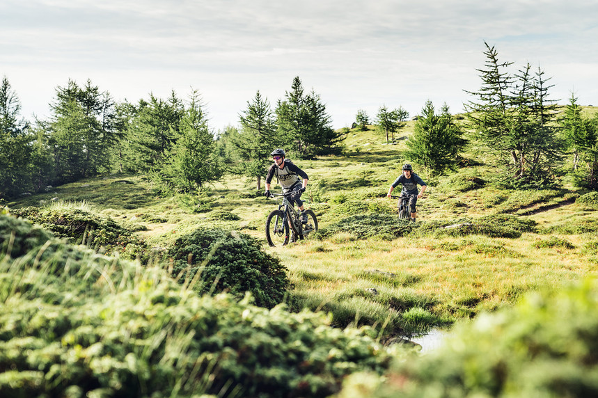 Mountainbiker auf dem Berninapass
