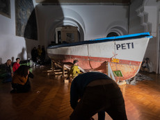 10 Trials and no more Reels- Concept & installation: Sebastian Hirn, Bass: Florian Gotte, Trumpet/flugelhorn: Franz Koglmann, Drums/percussion: Zoro Babel, Performers: Quindell Orton, Zufit Simon, Sebastian Hirn, 2019