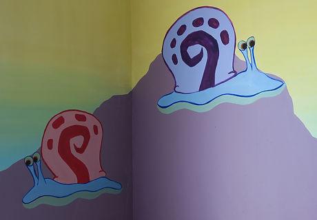 Spongebob Squarepants snails childrens mural
