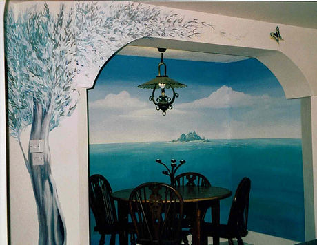 Mediterranean mural with olive trees