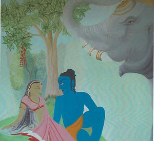 Indian mural with elephant