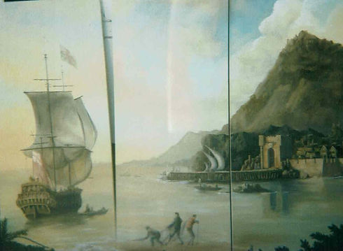Marine themed decorative room divider screen with ship