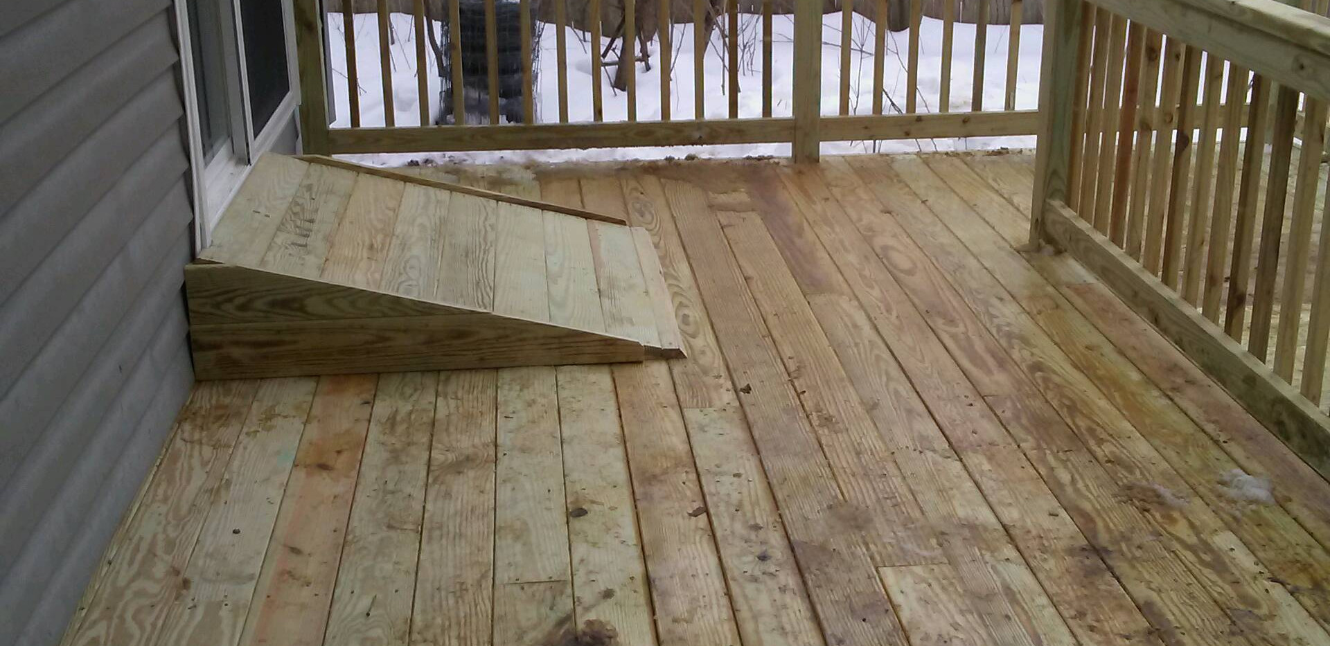 Wheel chair ramp into home  and long dec