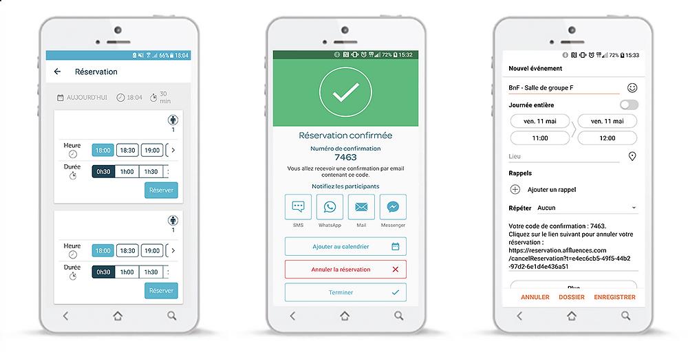 Processus de réservation sur l'application mobile d'Affluences