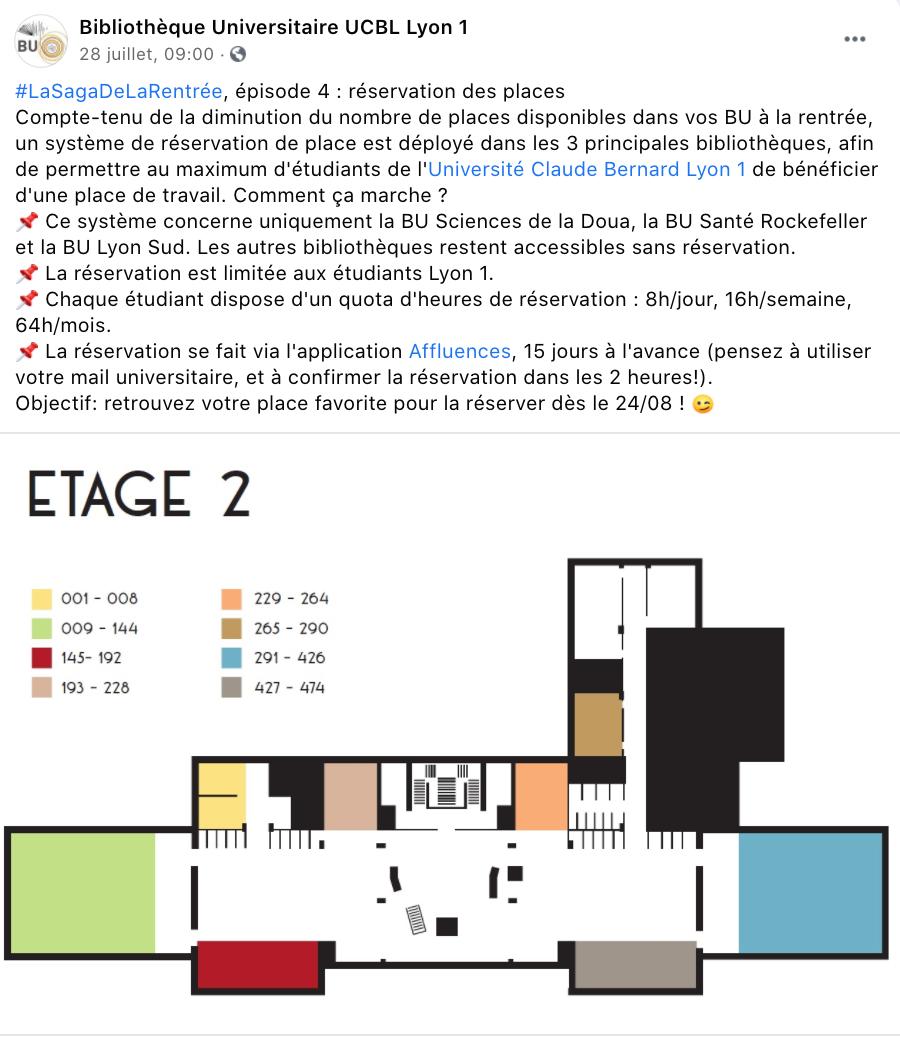 Communication système de réservation Affluences de la Bibliothèque Universitaire UCBL Lyon 1