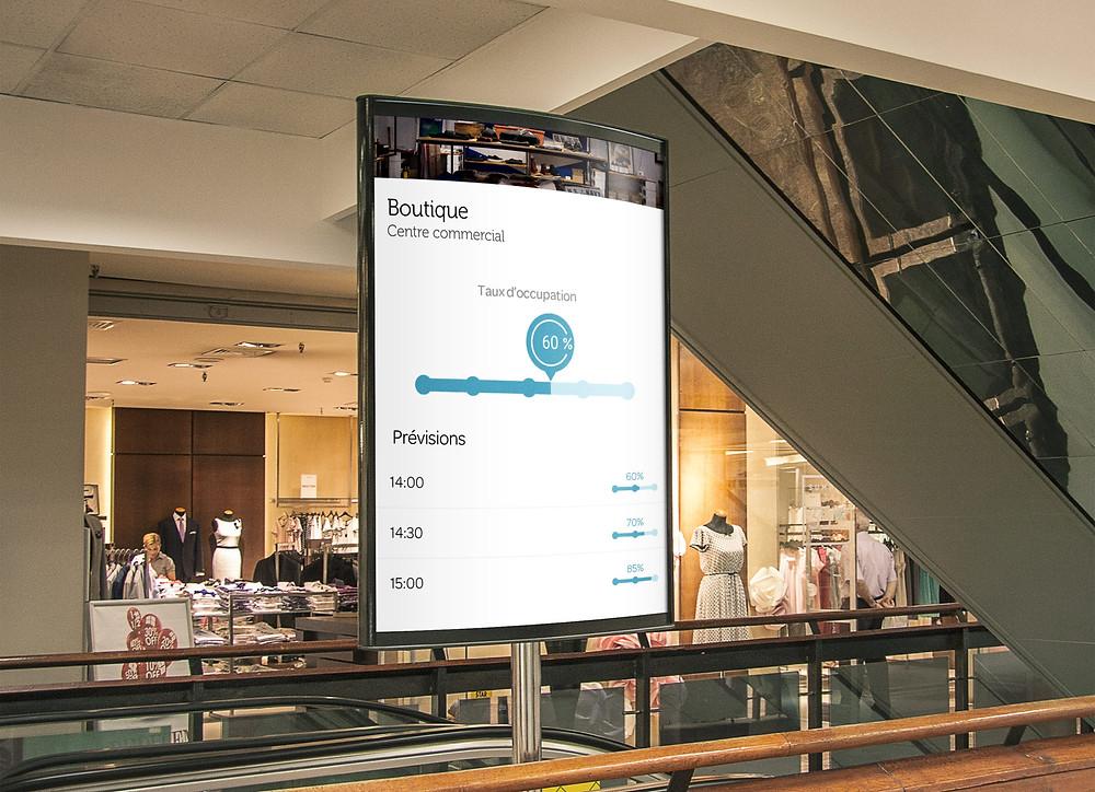 Exemple d'écran diffusant la jauge d'accueil dans un centre commercial