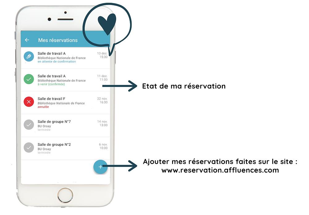Rubrique des réservations sur l'application mobile Affluences