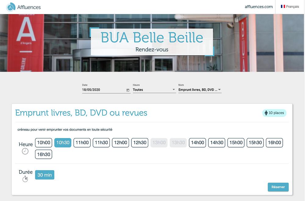 Le service de réservation à la bibliothèque universitaire d'Angers