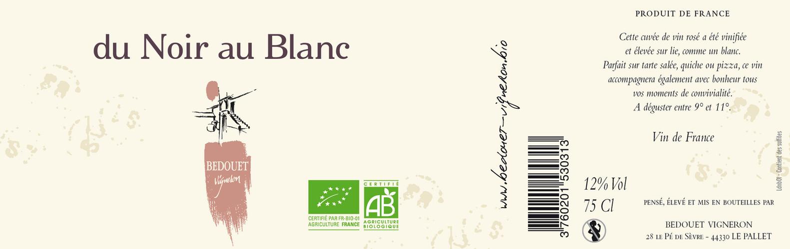 Du Noir au Blanc Gamay Bedouet vigneron BIO