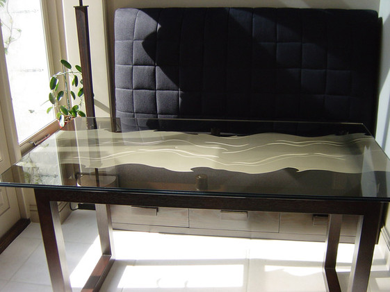 Etched topped table