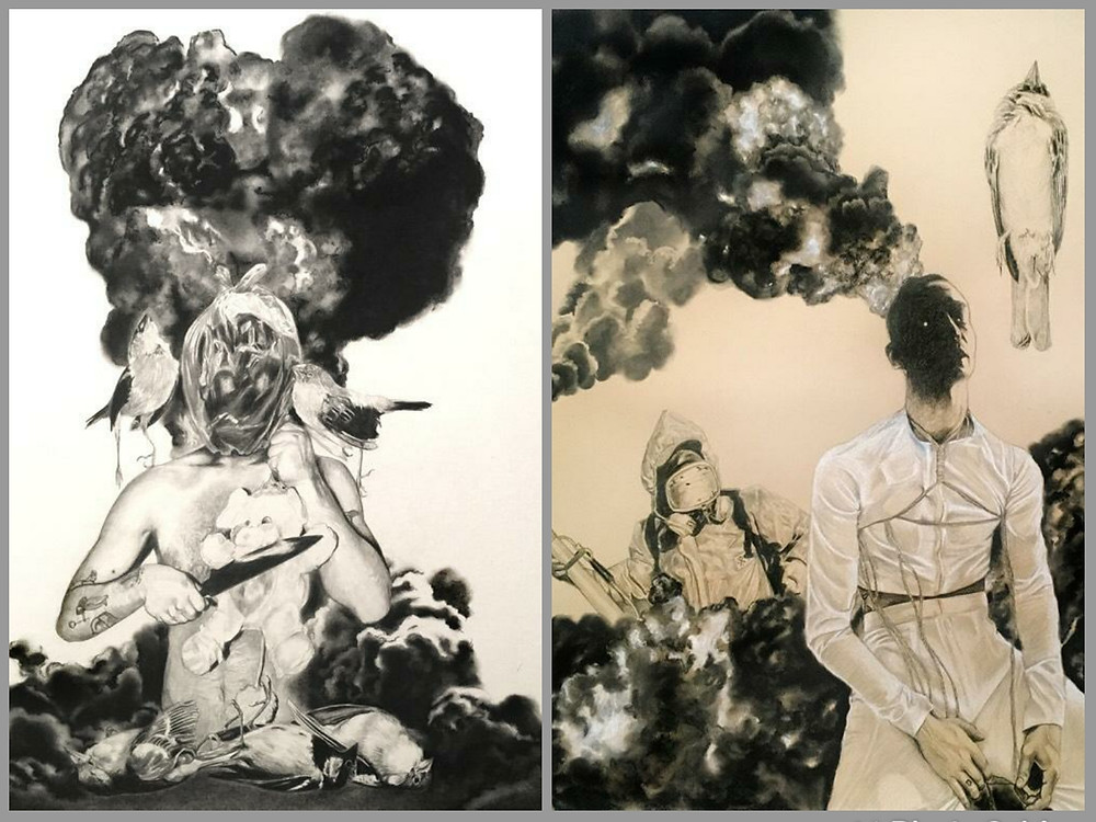 The End of Nature -Odyssey / The End of Nature - Destrucction. (Charcoal & graphite on paper), por Sonia Carballo.