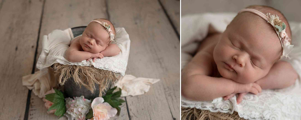 newborn photos of baby girl posed in a bucket using flowers