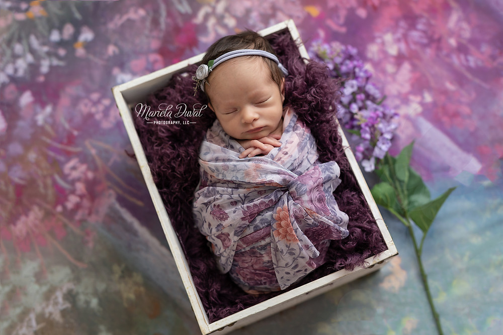 Sweet baby girl Ellie- Newborn Photographer Atlanta. Mom's favorite color is #purple so love being able to use that for Ellie's newborn photo session