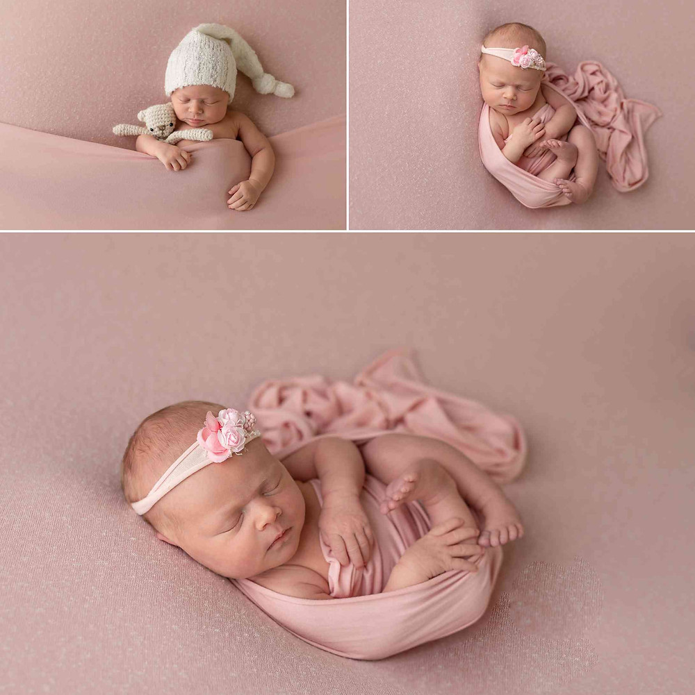 12 days old baby girl in Atlanta during newborn photos, taken on pink background