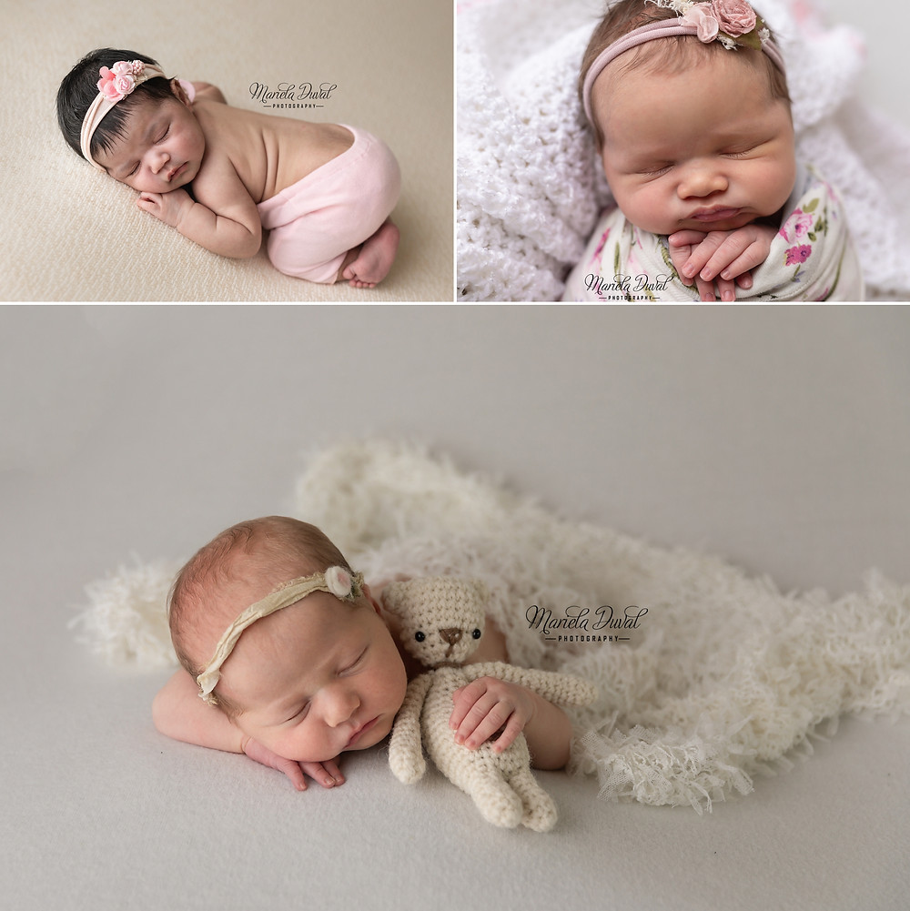 Examples of newborn poses taken in studio in Sandy Springs using neutral colors.  Best time to take images are between 7-21 days when baby is still sleepy
