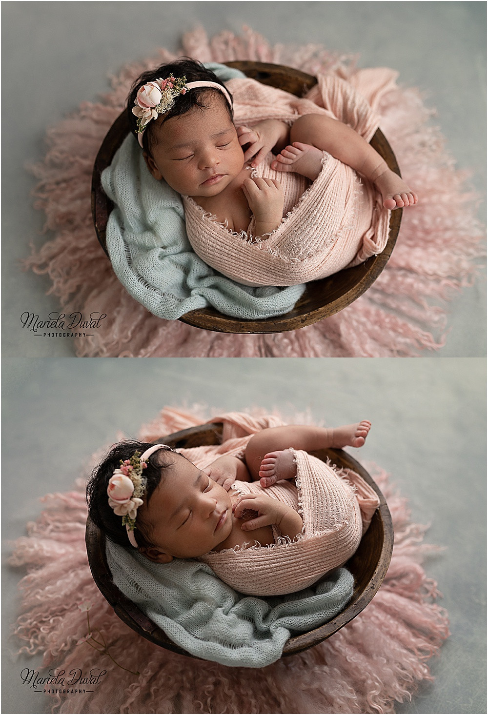 Newborn girl laying in a bowl wrapped in pink and seafoam green to compliment her nursery colors.