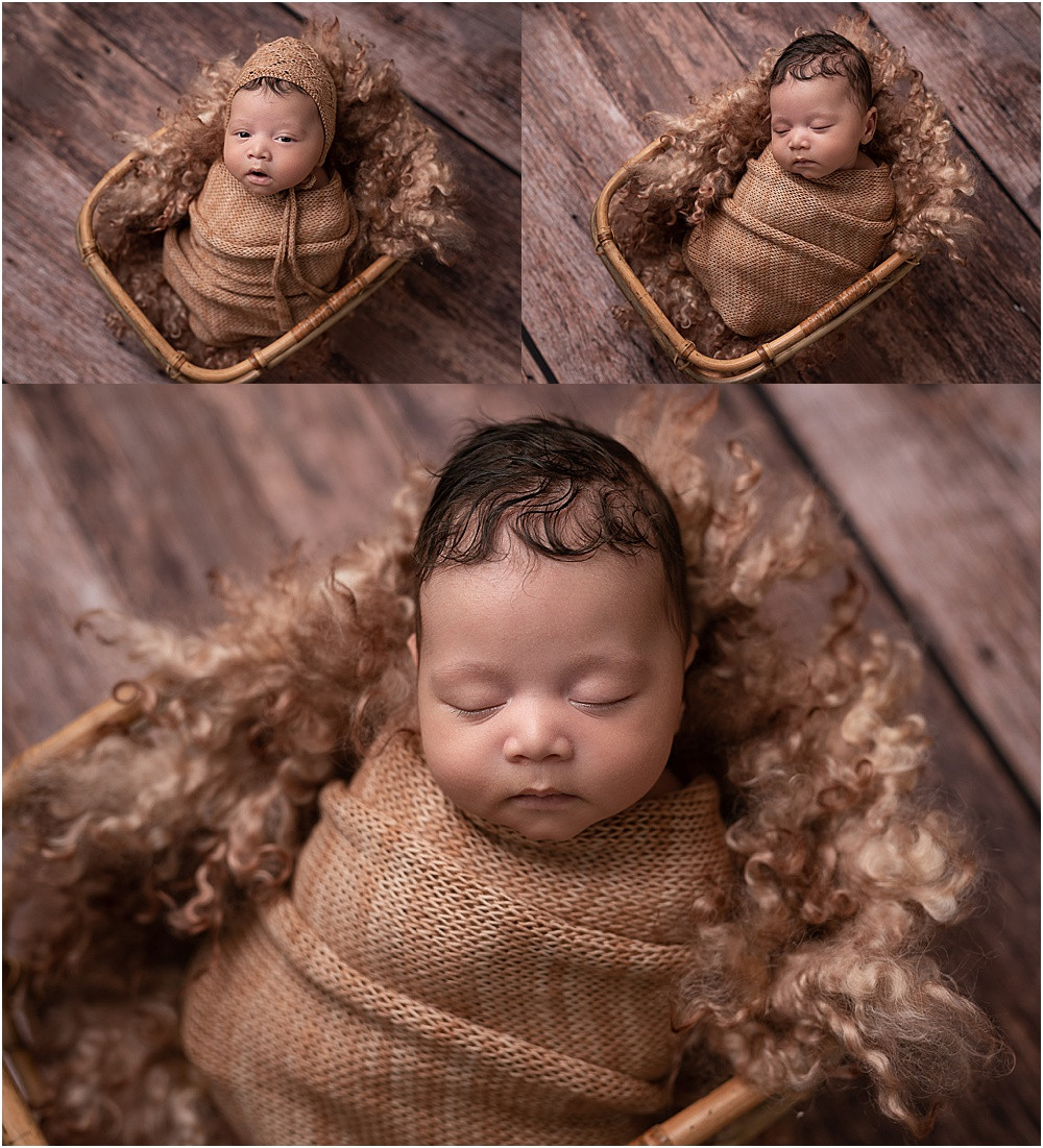 baby boy photographed in a basket using browns and tans- wrapped and wearing with and without bonnet