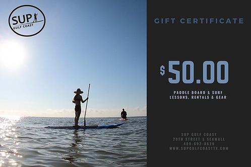 $50 SUP Gulf Coast Gift Certificate