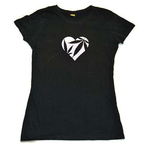 Heart with Hemp Leaves Women's Fitted Tee Shirt