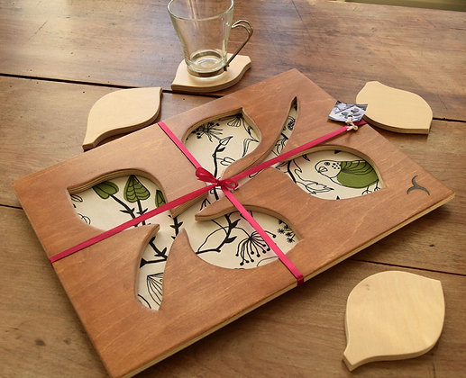 Leaf Stem Tray with 4 Coasters  - Design 1