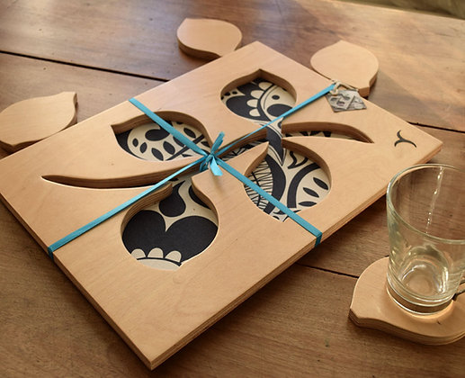 Leaf Stem Tray with 4 Coasters  - Design 2