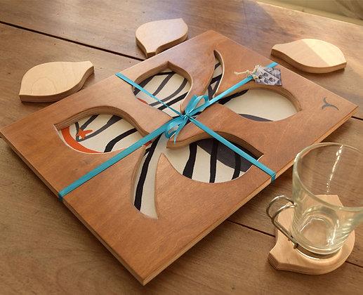 Leaf Stem Tray with 4 Coasters  - Design 3