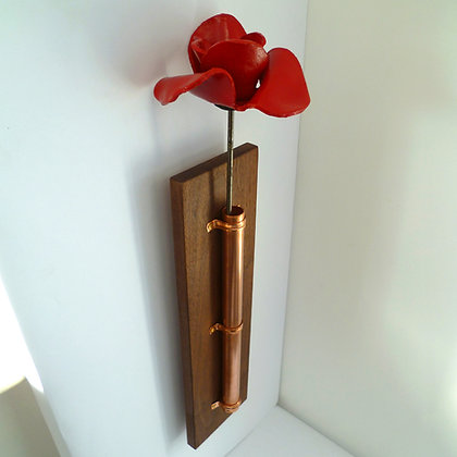 RBL supported Ceramic Poppy Holder in oak and walnut