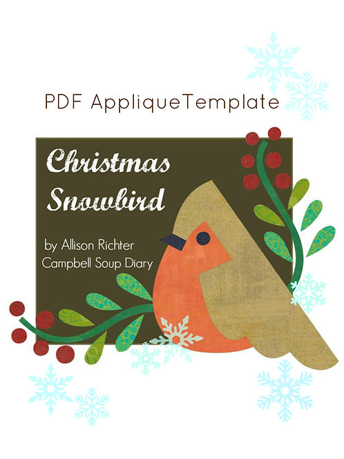 Christmas Snowbird and Branches & Berries Applique PDF Template