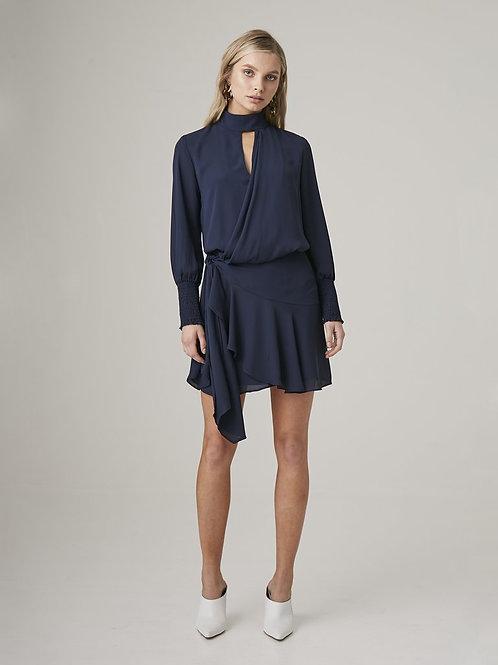 Krisa | Drape Front Turtleneck Mini Dress