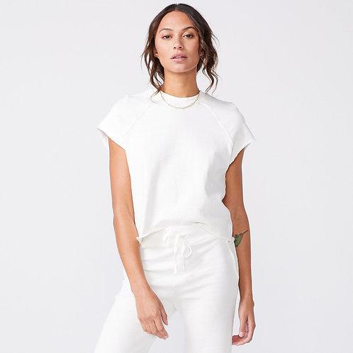 Monrow   Short Sleeve Cut Off Raglan Sweatshirt
