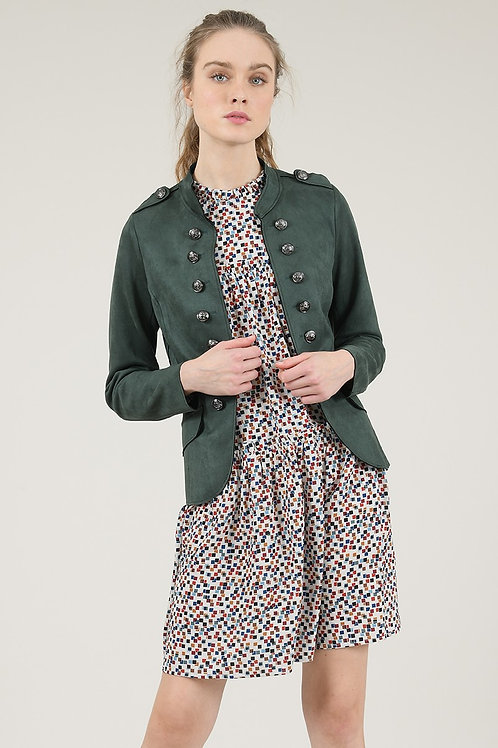 Molly Bracken | Faux Suede Fitted Military Jacket