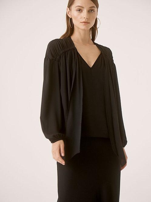 Krisa | Ruched Tie Long Sleeve Top