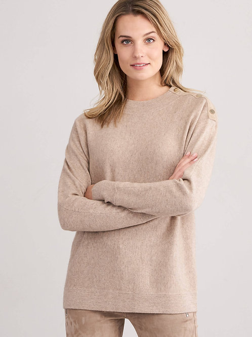 Repeat Cashmere   Wool Cashmere Sweater with Snap Detail