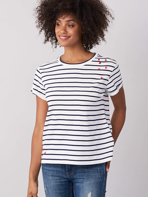 Repeat Cashmere | Striped Tee with Hearts