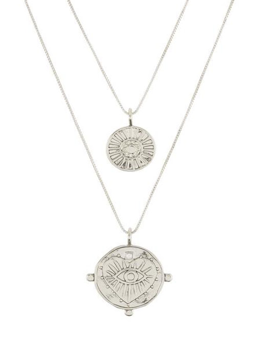 Luv AJ | Evil Eye Double Coin Necklace