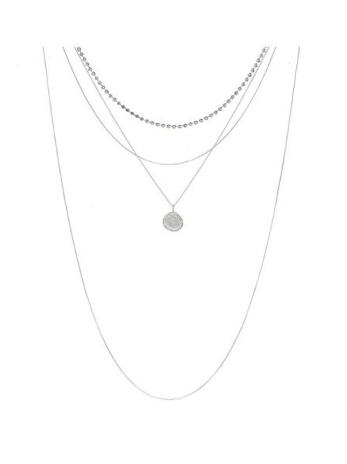 Luv AJ | Layered Pave Coin Necklace